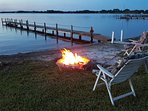 Enjoy a fire down by the lake ..... firewood is provided.