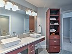 Get ready for the day with a double-vanity sink in this bathroom.