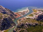 Bird eyes view of Omis : Cetina River, Sandy Beach and Mountains