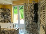 Slate shower tower with rainshower head, horizontal massage jets & adjustable pulse handheld shower