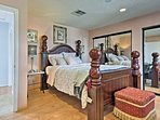Relax on the comfortable queen bed in the first bedroom.