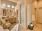 Luxury flourishes throughout this spa-like en-suite bathroom!