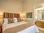 Sleep soundly in this California king-sized bed.