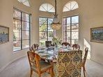 Wine and dine around this elegant round table.