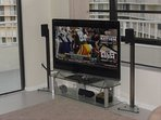 One of two flatscreen TVs