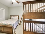 Bedroom #4, twin over twin bunk bed with an additional full size bed