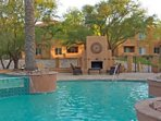 Enjoy the cooling waters of this gorgeous pool with cascading fountain.  Pool also heated in winter