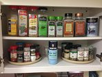 A full array of spices for your meal preparation