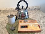 tea kettle and loose teas for you.