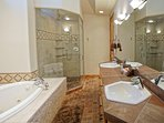 Master Bathroom with dual sinks, jacuzzi tub, waterfall shower, water closet