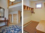 A fittingly dramatic 2 story foyer and the mud room for coats and gear