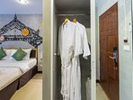 Key card system+Wardrobe/Closet+Safety Deposit Box +Bathrobe+Socket near the bed+Sofa