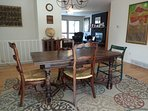 Dining room table expands to seat 10