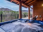 Two hot tubs on the large walk around deck