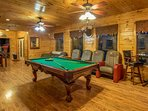 Game room with pool table, air hockey, and several arcade games free to play