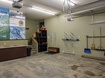 Heated double garage. A lot of room to store skis, snowboards, boots, golf clubs, paddle boards, etc