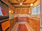 There is double oven in this spacious kitchen.