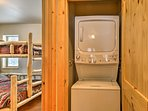 Stacked in-unit laundry machines are ready to keep your clothes fresh.