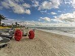 Rent a jet ski or sunbathe in the sand.