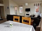 Spacious open plan living and dining area.