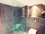 A shower with some power...lights too,we love it!