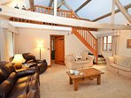 Large lounge area,access to the twin bedroom mezzanine with low beams