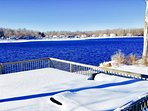 Dock with 14 Piece seating ( Covered in Snow)_ Stunning Waterview