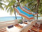 Lovely sun deck with oceanfront views and sun loungers