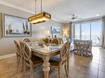 Twin Palms 404-Large Dining Area with view of the gulf