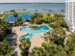 Community pool, tennis courts, dock and Little Lagoon