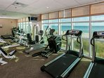 Cardio machines overlooking the beach and the Gulf