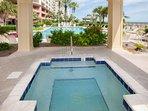 Hot tub overlooking pool