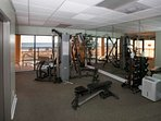 Fitness center with weight training equipment