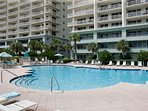 Large in-ground pool at Beach Club condominiums