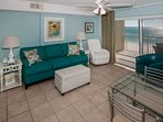 Tiled living room overlooking Gulf-front view