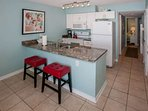 Breakfast bar with padded seating for 2