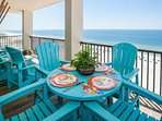 Wood-tiled Gulf front balcony
