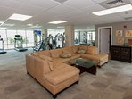 Lounge area in community fitness center