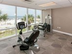 Community fitness center overlooking beach and Gulf