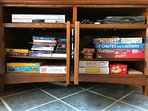 Selection of games at the cabin.