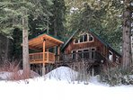 Cabins wooded setting on the bank of the Wenatchee River.
