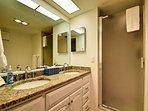 Granite double sink vanity in the master bathroom.