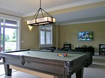 9' pool table, double sliding door walk-out to patio, picnic table, lawn games
