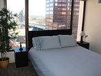 Bedroom has a comfortable queen bed, sleeps 2 people. Pillows, linens, blankets are provided