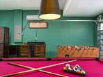 Air conditioned games room foosball, pool, and air hockey