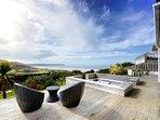 Pebbles Beach House amazing lower decked garden vista
