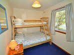 Double bed with upper bunk bed