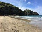 A short walk down the cliffs leads to the beach