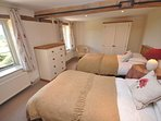 Twin bedroom with lovely countryside views