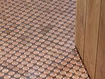 Beautiful flooring made from old fashioned penny coins